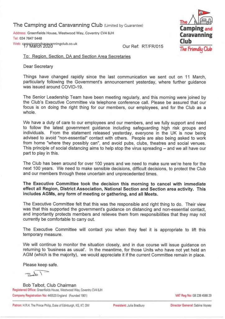 A letter from Camping and Caravanning Club Chairman, Bob Talbot regarding Covid-19 virus.